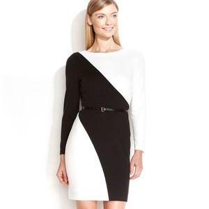 Calvin Klein Long Sleeve Black & White Dress